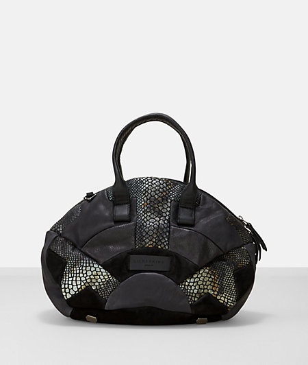 Leather snakeskin patchwork large satchel overnight from liebeskind