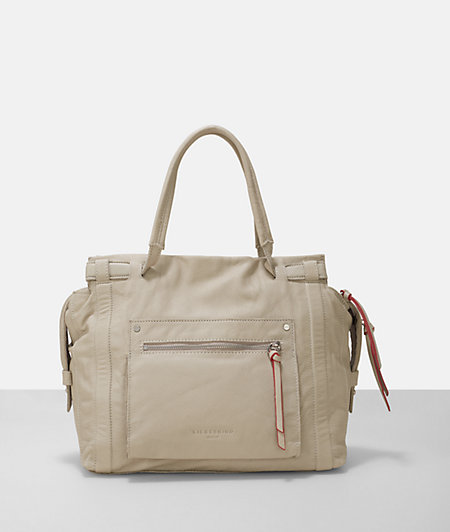 Leather sporty pocket large satchel bag from liebeskind