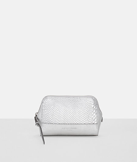 Make-up bag with a metallic snakeskin pattern from liebeskind