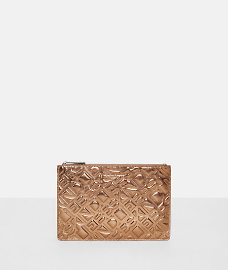 Cowhide leather make-up bag with a metallic finish from liebeskind