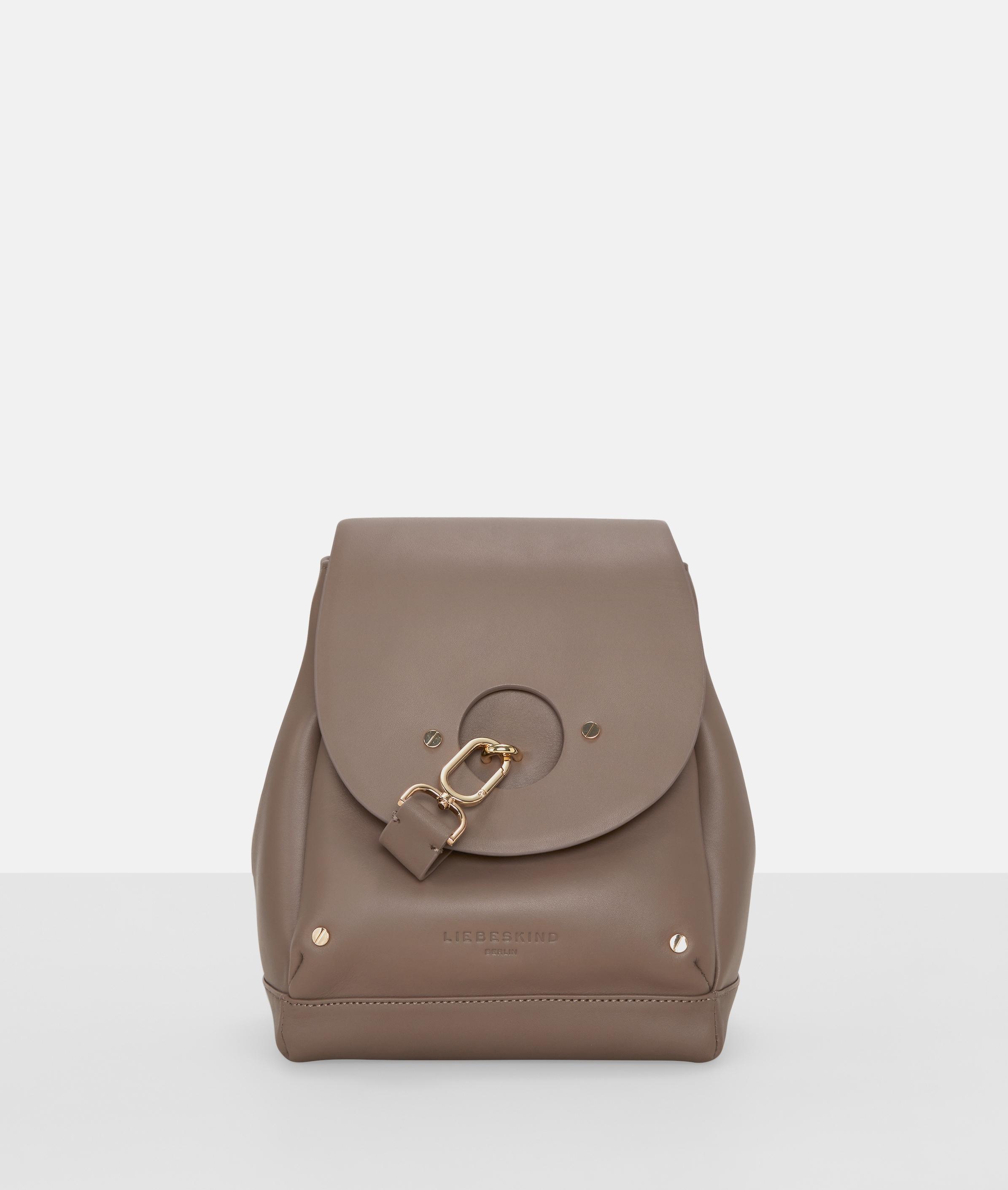 Berlin Tasche Round Flap Bucket Bag M, Grau/Schwarz