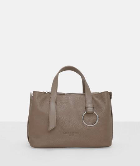 Handtasche mit genarbtem Leder und Metalldekor