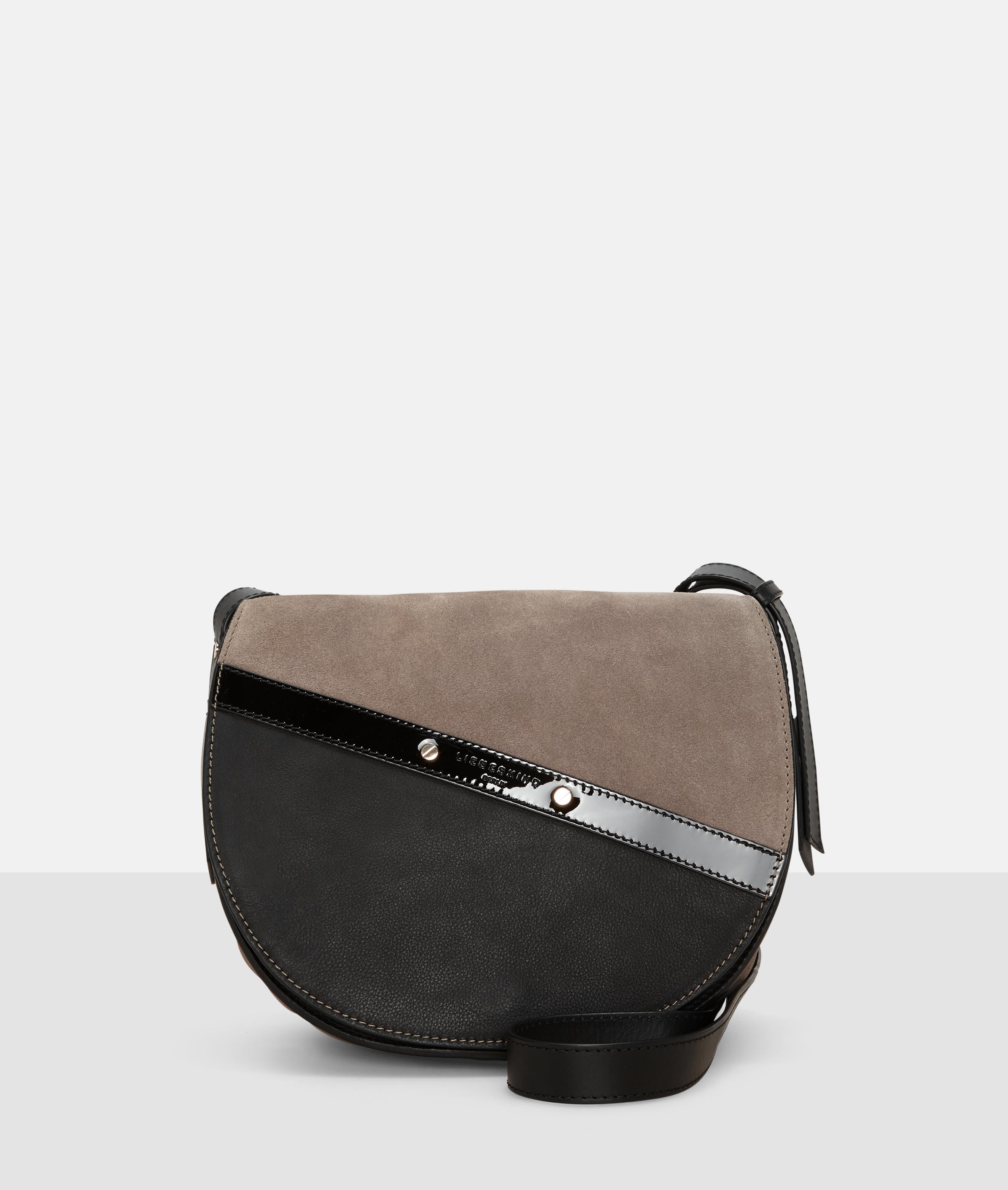 Berlin Tasche Helmet Patent Crossbody Bag M, Grau/Schwarz