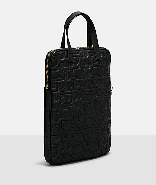 Laptop bag with all-over logo embossing from liebeskind