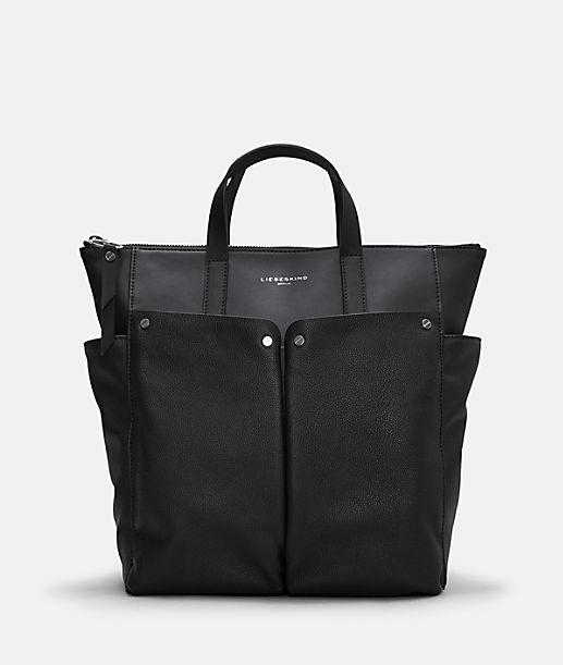 Rucksack mit aufgesetzten Außenfächern und Handtaschenfunktion