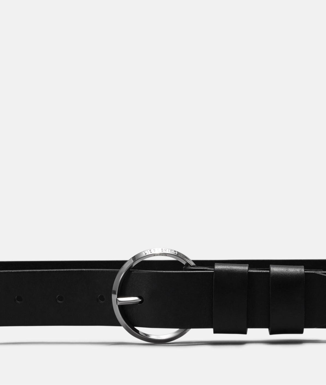 Ledergürtel mit runder Metallschnalle