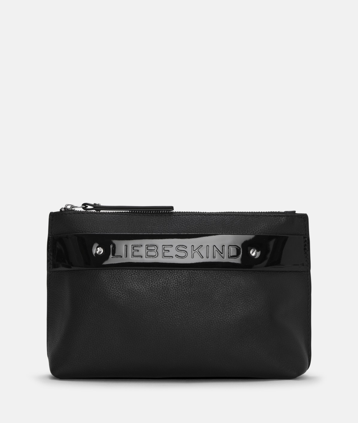 Make-up bag with a contrasting patent leather strap from liebeskind