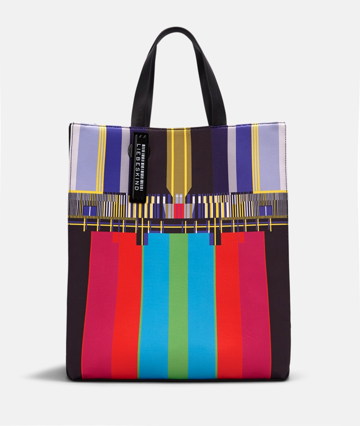 Neoprene tote bag with a TV screen print from liebeskind