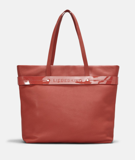 Shopper with contrasting patent leather ribbon from liebeskind