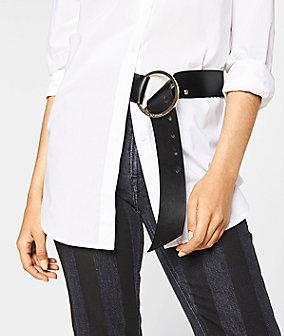 Gürtel B wide Belt mit großer, runder Metall-Schließe