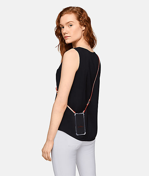 This mobile phone case for the iPhone 7 and 8 is crafted from flexible plastic and will protect your phone from dirt and scratches. The practical leather hanging strap that means the smartphone can be carried close to hand on the body at all times makes this accessory a fashion item. from liebeskind