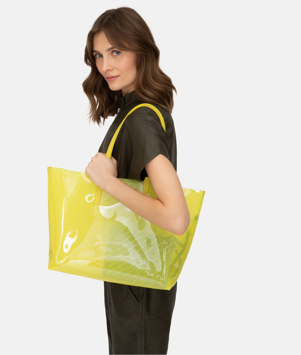Transparent shopper with a logo print from liebeskind