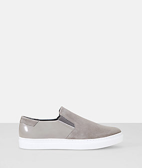Suede and patent leather slip on sneaker from liebeskind