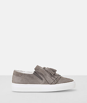 Suede leather fringe slip on sneaker from liebeskind