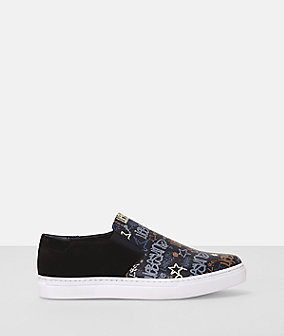 Graffiti print leather slip on sneaker from liebeskind