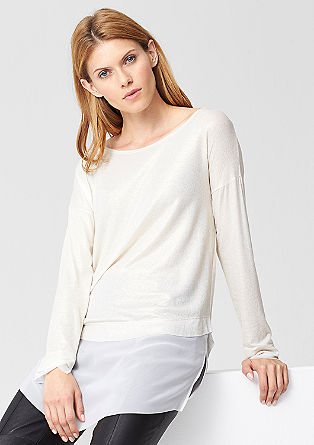 Shiny long top with chiffon from s.Oliver