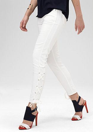 Slim: Jeans mit Kordel-Einsätzen