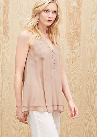 Mouwloze blouse van zijde