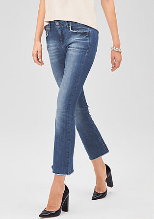Slim: 7/8-Fransen-Jeans